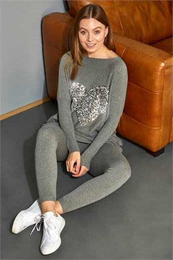 Sequin Heart Lounge Tunic Jumper