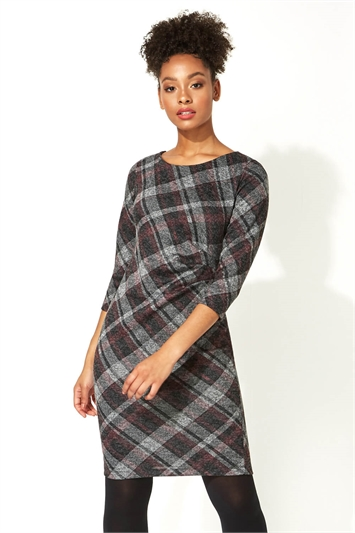 Check Print Ruched Waist Dress