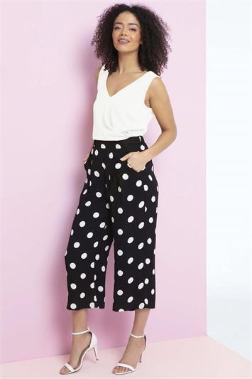 Black Polka Dot Culotte Trousers