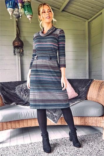 Stripe Cowl Neck Button Detail Dress