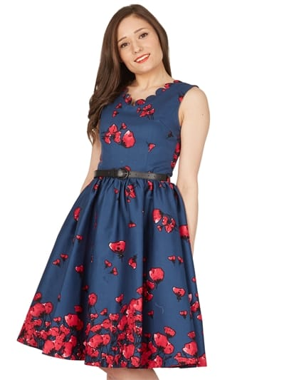 Daria Midnight Poppy Swing Dress