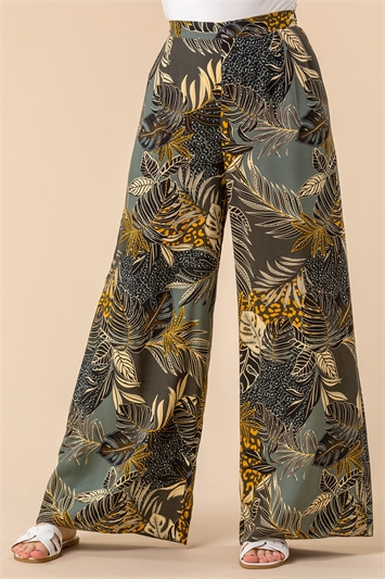 Tropical Print Wide Leg Trouser