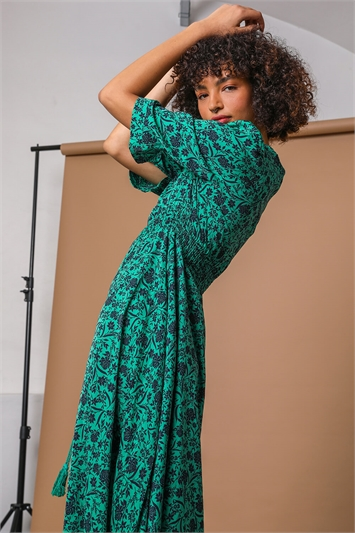 Green Floral Print Shirred Waist Maxi Dress