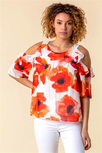 Floral Poppy Print Cold Shoulder Top
