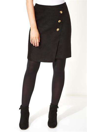 Suedette Button Detail Skirt