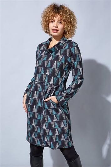 Dark Grey Abstract Print Cowl Neck Dress