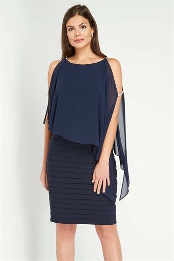 Midnight Blue Diamante Trim Detail Layer Dress, Image 1 of 5