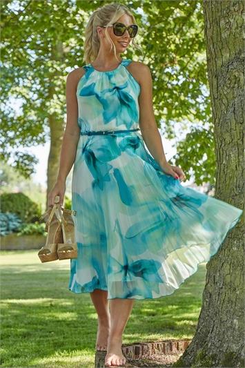 Green Floral Print Pleated Midi Dress