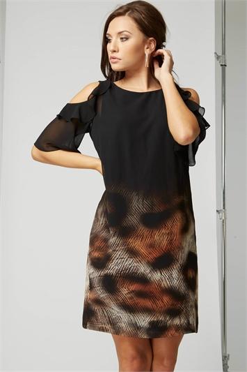 Animal Border Print Frill Dress