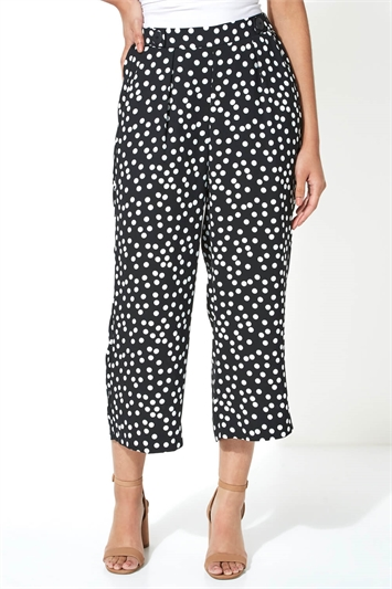 Wide Leg Spot Print Culottes