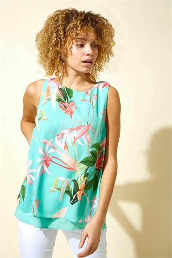 Tropical Chiffon Overlay Vest Top