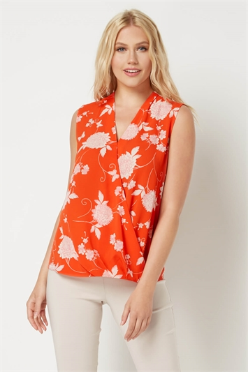 Floral Sleeveless Wrap Top