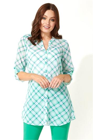 Check Print Button Through Shirt