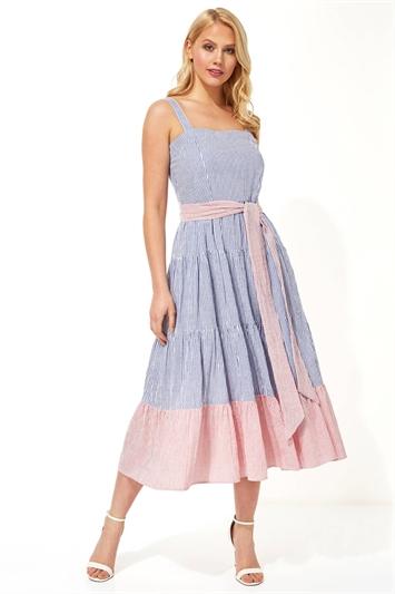Stripe Tiered Cotton Midi Dress