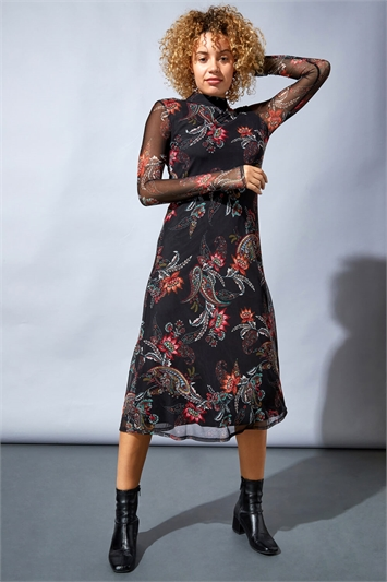 Mixed Print High-Neck Midi Dress