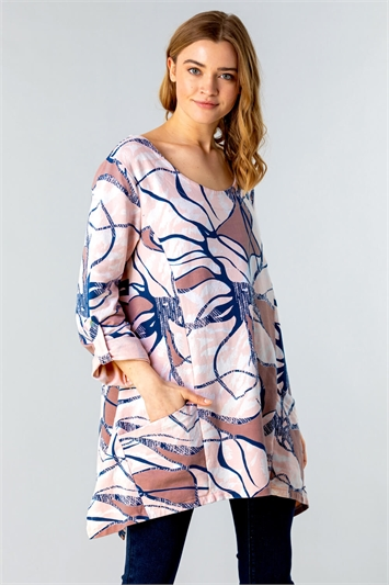 Abstract Print Tunic Top with Pockets