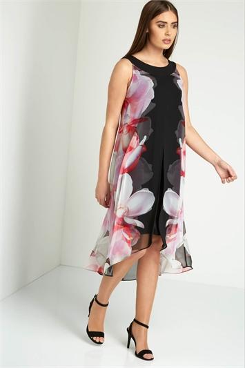 Floral Print Split Chiffon Dress