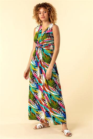 Palm Print Twist Waist Maxi Dress