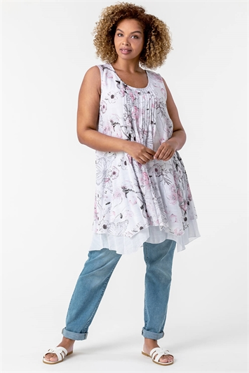 Pink Curve Floral Print Layered Tunic Top