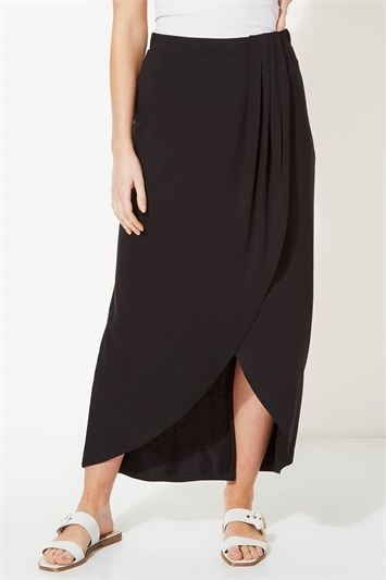 Jersey Wrap Asymmetric Maxi Skirt