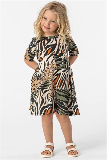 Khaki Girls Animal Print Stretch Swing Dress