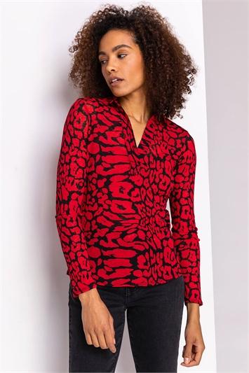 Red Animal Print Long Sleeve Top