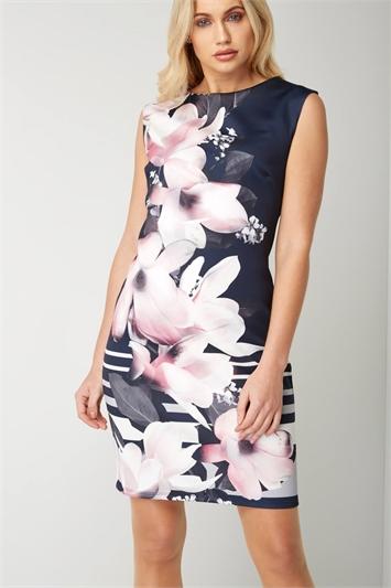 Floral Contrast Scuba Dress