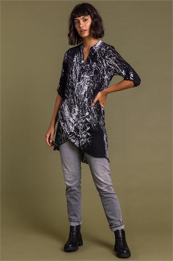 Black Mono Print Layered Tunic