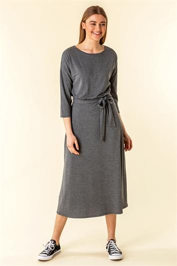 Belted Jersey Midi Dress