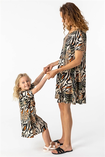 Khaki Animal Print Stretch Swing Dress