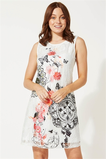 Mixed Floral Butterfly Print Lace Shift Dress