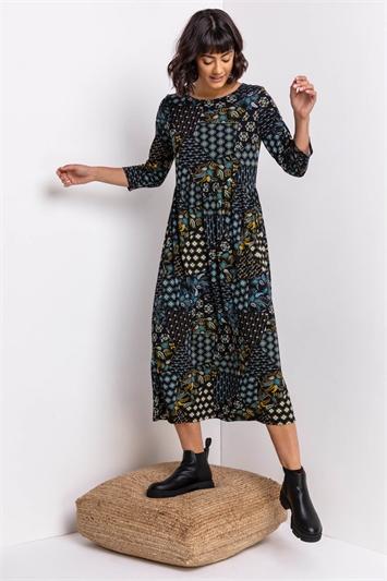 Blue Patchwork Floral Print Midi Dress, Image 1 of 5