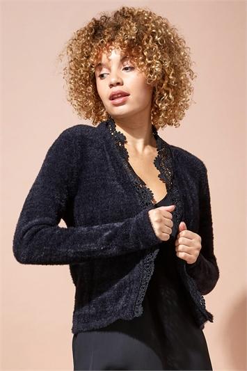 Lace Trim Fluffy Knit Shrug