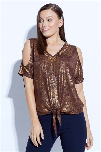 Tie Front Cold Shoulder Embellished Top