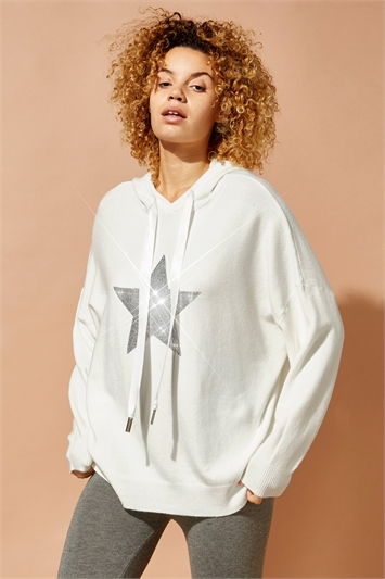 Star Embellished Knitted Hoodie