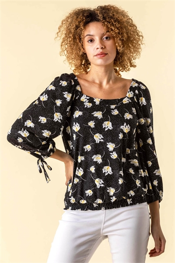 Floral Spot Square Neck Top