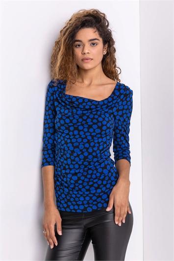 Royal Blue Spot Print Cowl Neck Top