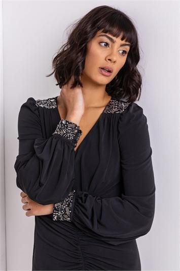 Black Sparkle Embellished Ruched Dress