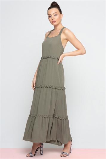 Tiered Lace Trim Maxi Dress