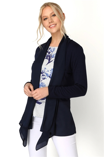 Chiffon Hem Waterfall Cardigan