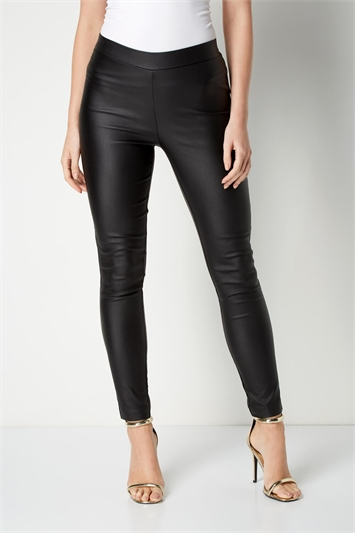 Pull On Faux Leather Petite Trousers