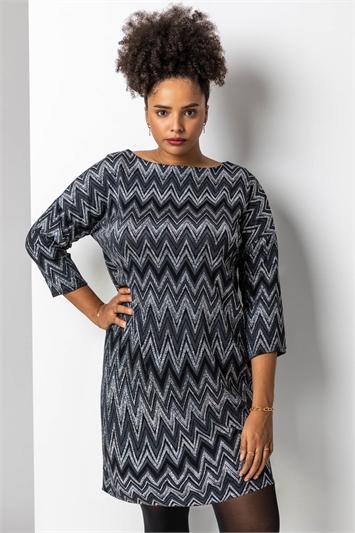 Silver Curve Zig Zag Print Shift Dress