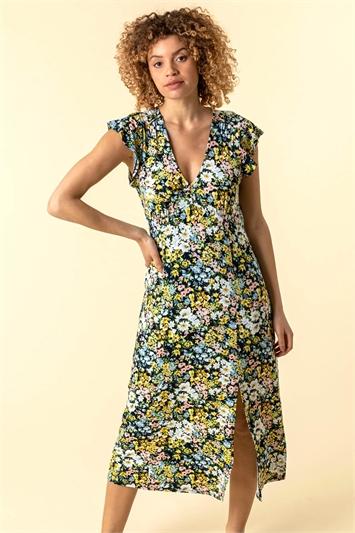 Multi Floral Print Frill Sleeve Dress