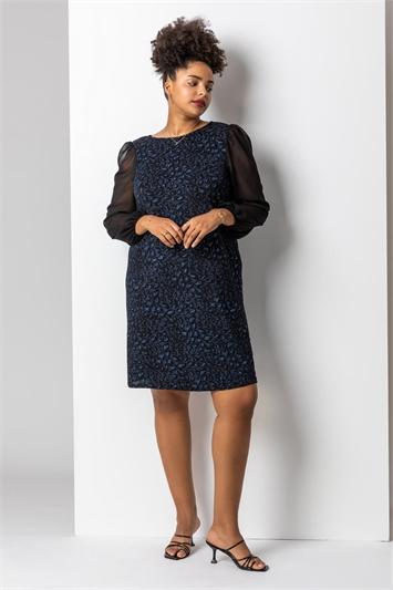 Blue Curve Glitter Animal Mesh Sleeve Dress