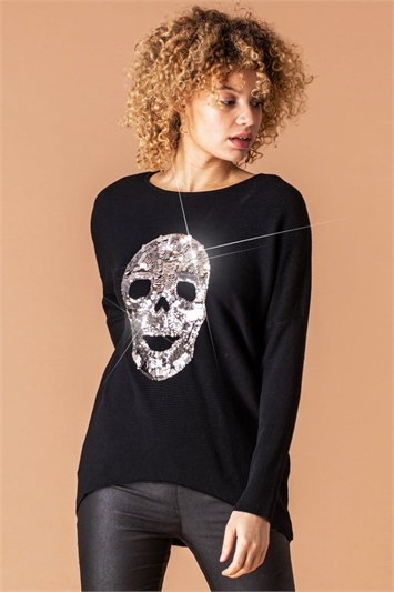 Skull Sequin Embellished Jumper