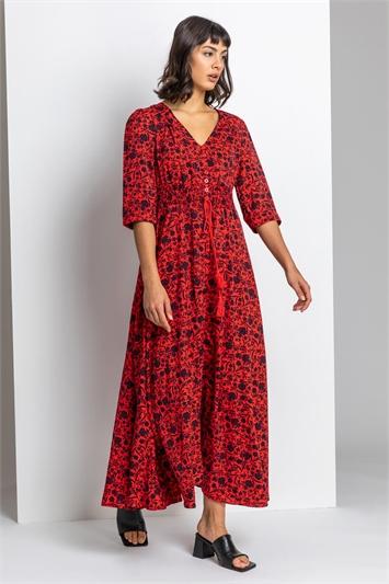 Red Floral Print Shirred Waist Maxi Dress