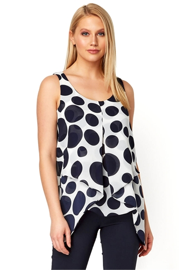 Spot Print Asymmetric Top