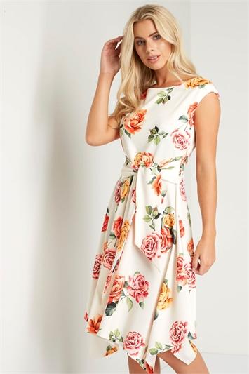 Hanky Hem Botanical Print Dress