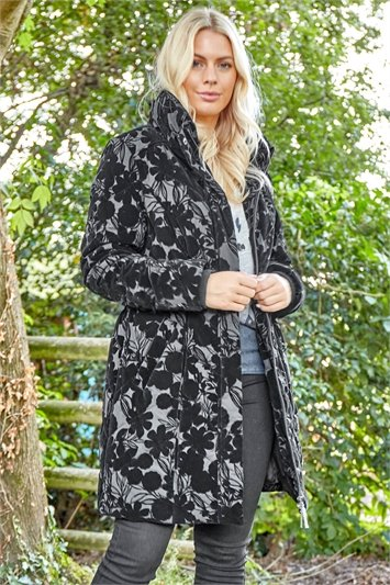 Floral Flock Detail Padded Coat