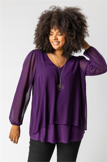 Plum Curve Chiffon Top With Necklace